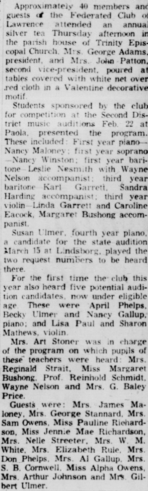 From the Lawrence Daily Journal World, Feb 7, 1958