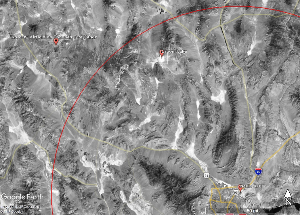 """100 miles from Nellis AFB (the red circle) places the crash roughly 20 miles from both Groom Lake and the """"Korean"""" Airfield"""