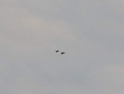 An F-16 (left) and MiG-29 (right) spotted near Groom Lake in 2009, via Phil Drake. Click for original