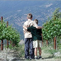 andrew and geoffrey in the vineyard as children.