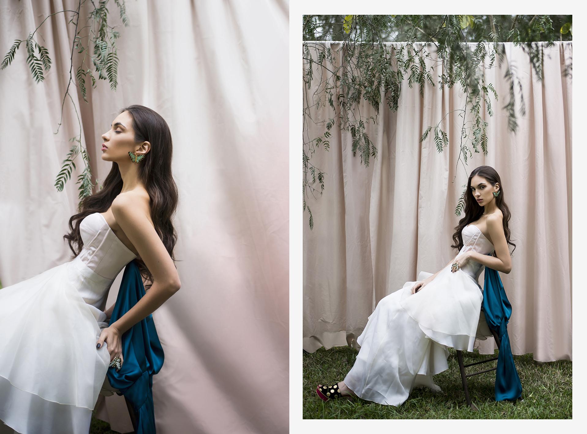 Falda y corset, CAROLINA TOLA. Aretes,anillo mariposa y zapatos, JESSICA BUTRICH.