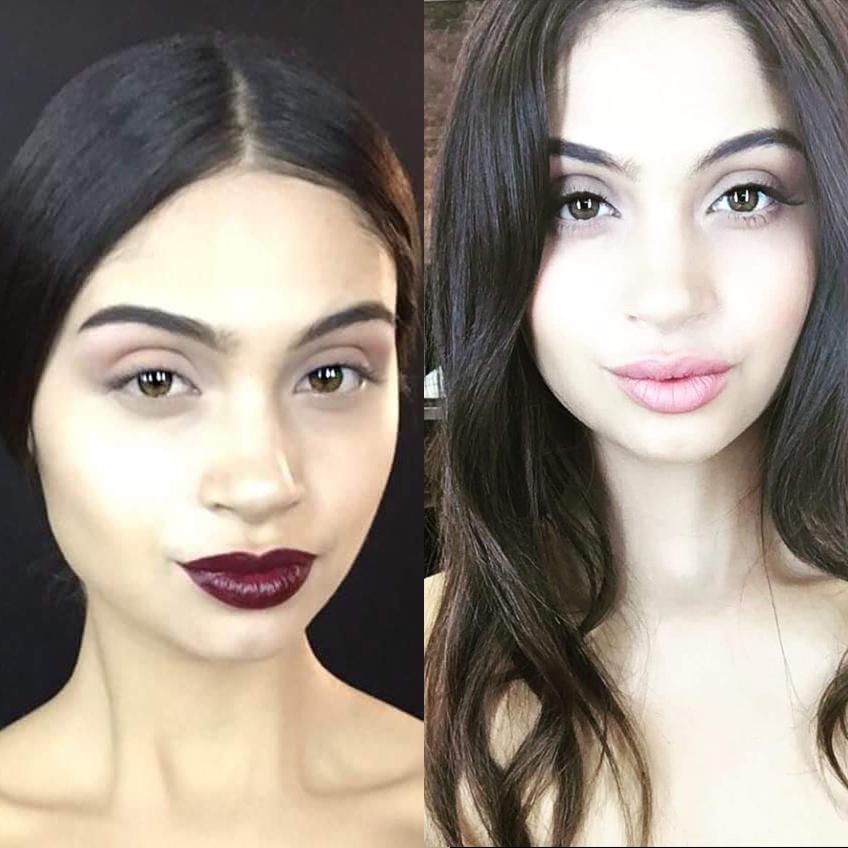 Paula en un beauty shoot, maquillada por la make up artist peruana Pía Arce