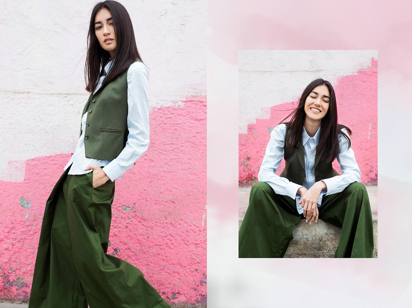 F Jord shirt,   GARUA.  Chaleco de lanilla,   YIRKO SIVIRICH.  Pantalón Cabo Seaweed,   GARUA.