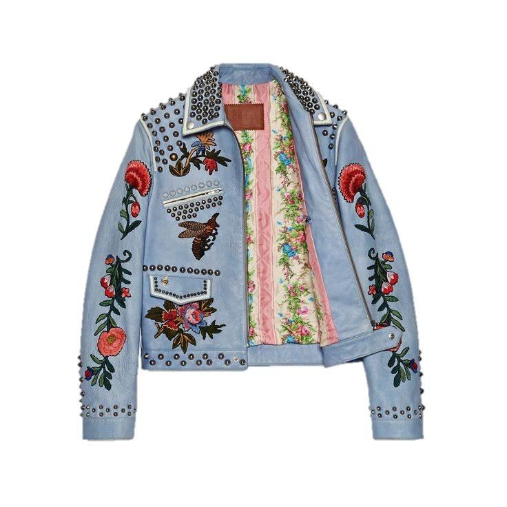Embroidered denim jacket, GUCCI