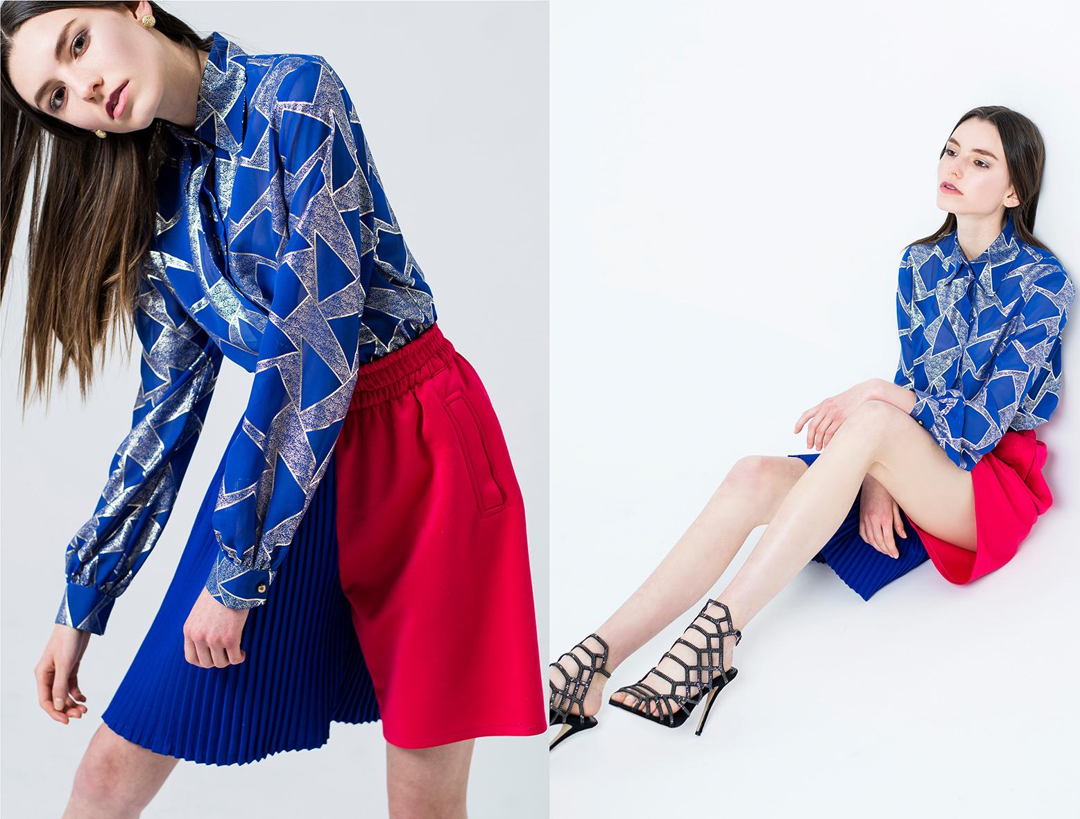 Blusa con print metalizado , WEAR IT B#TCH.  Short bicolor , LADRON DE GUEVARA.  Zapatos , STEVE MADDEN.  Aretes , VINTAGE.