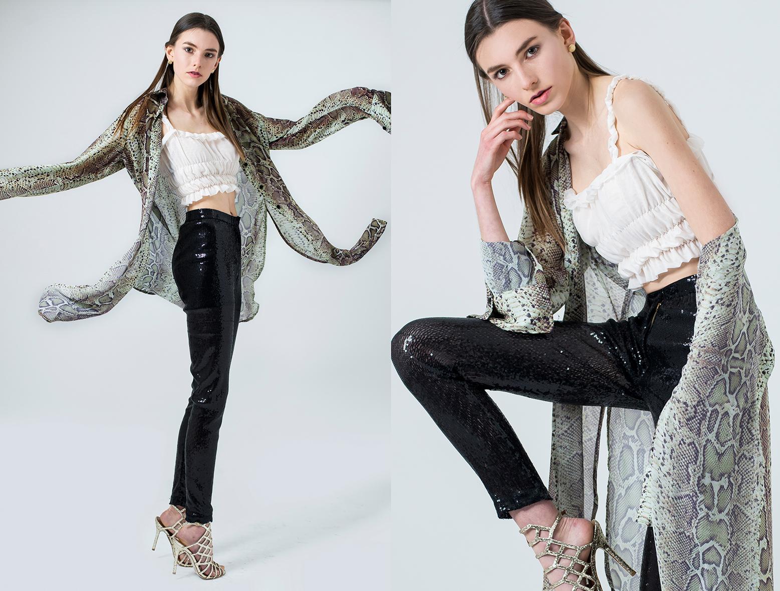 Top , DHOSIS.  Blusa print de serpiente , VON KOLLMANN.  Pantalón de lentejuelas , WEAR IT B#TCH.  Zapatos , STEVE MADDEN.  Aretes,  VINTAGE.