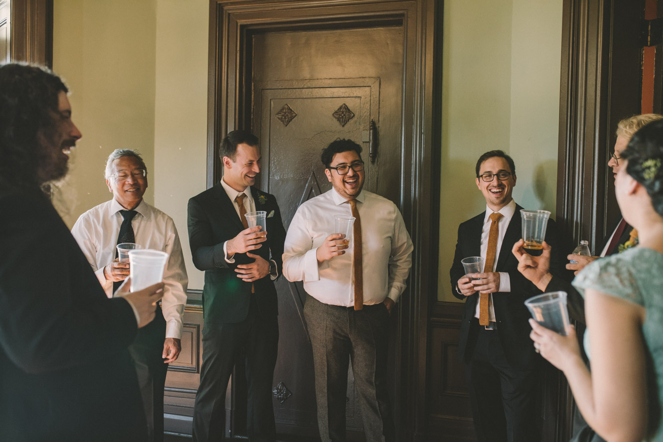 cylburn arboretum baltimore wedding groom hanging with groomsmen.jpg