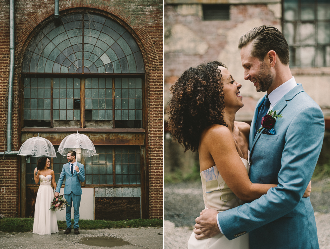 clipton mill baltimore industrial rainy wedding photographer .jpg