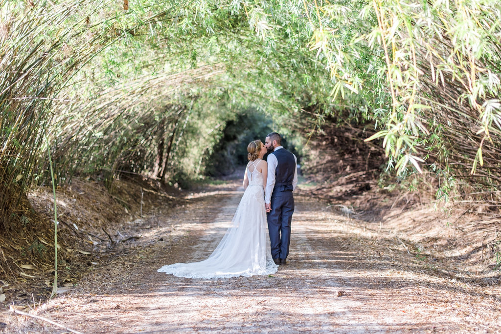 Newlyweds at Outdoor Wedding Venue in Jacksonville