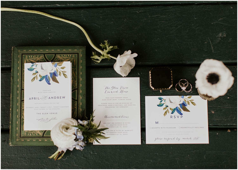 Wedding invitations and wedding rings