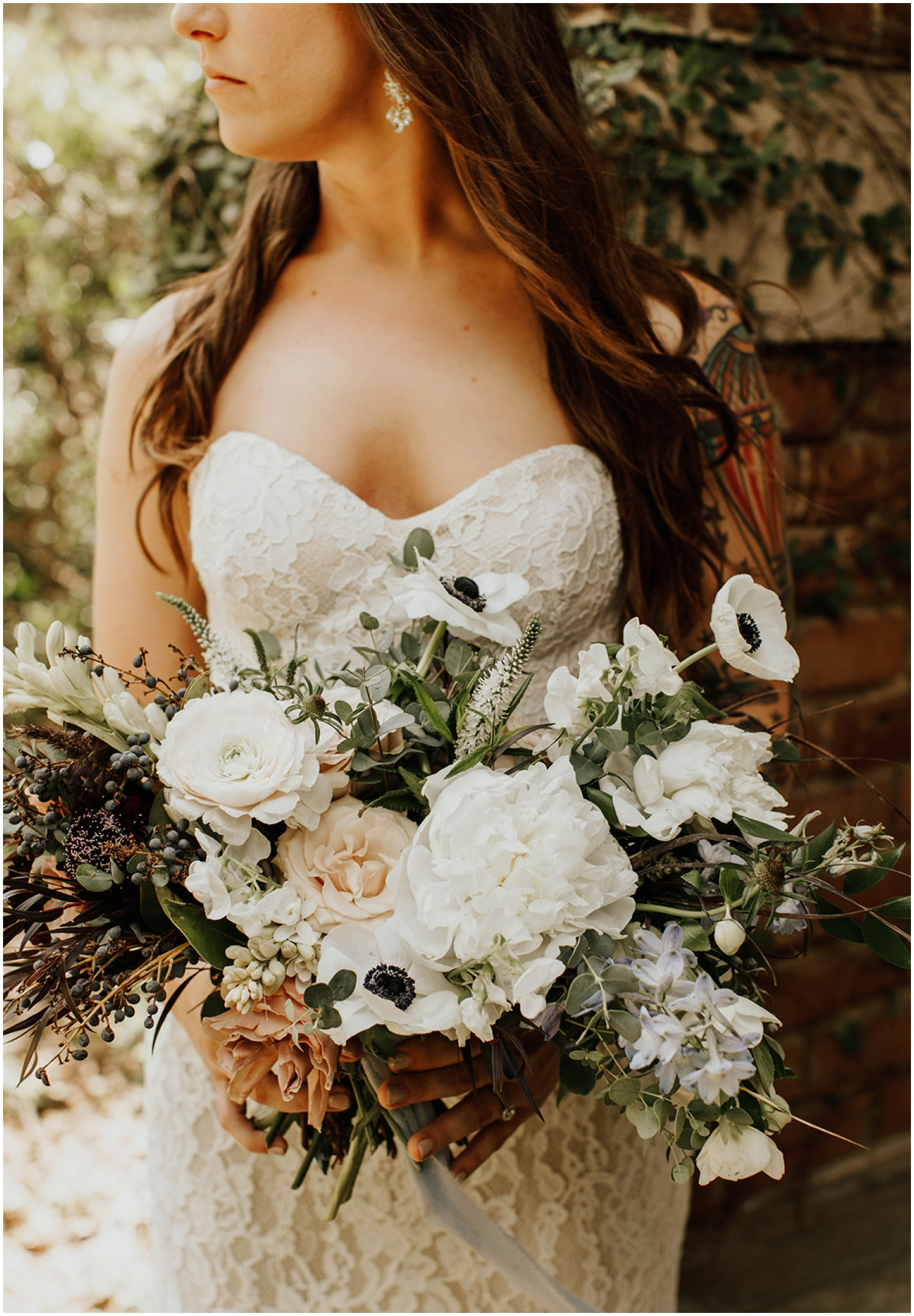 Bride holding her bridal bouquet