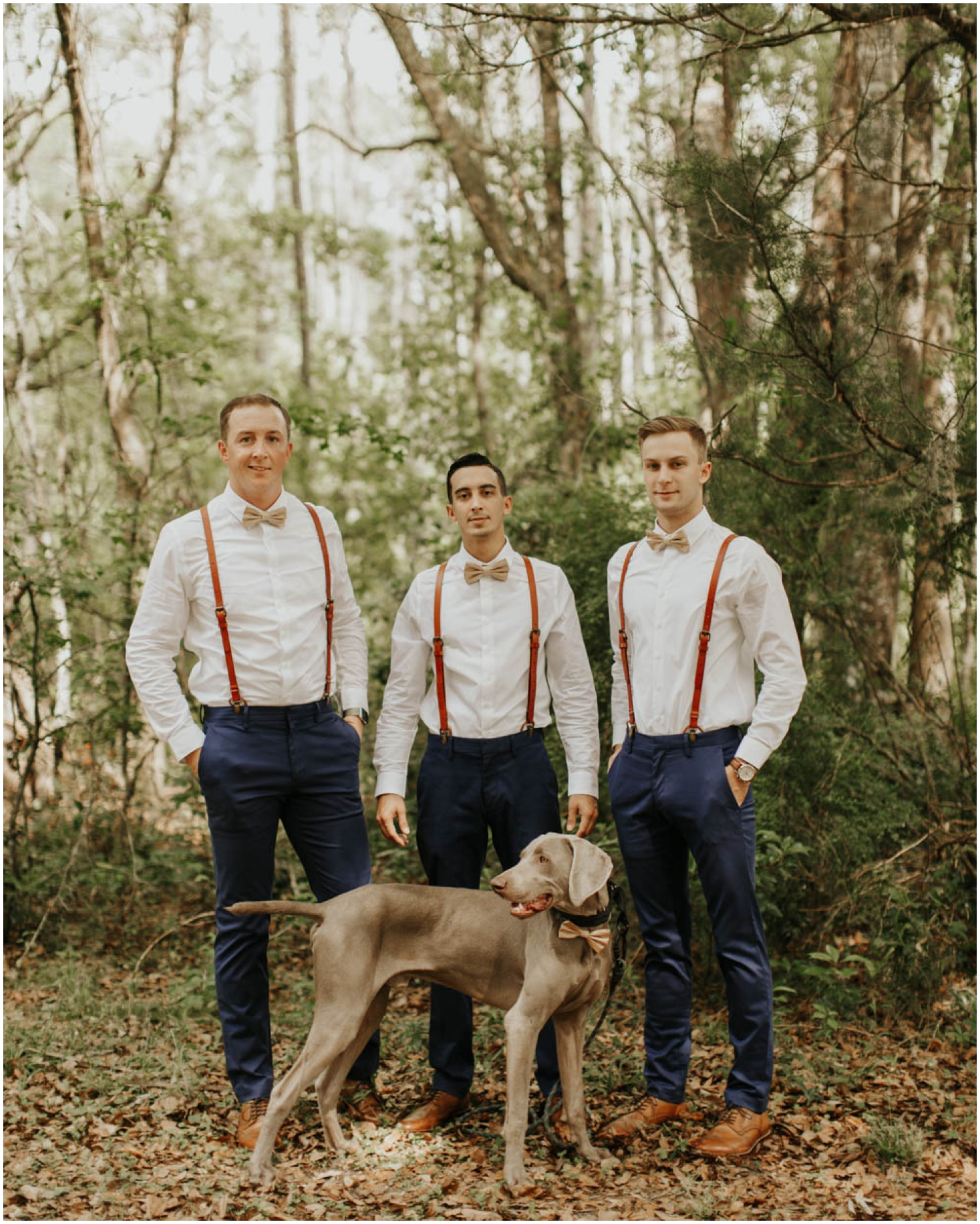 Groomsmen and Groom with their dog