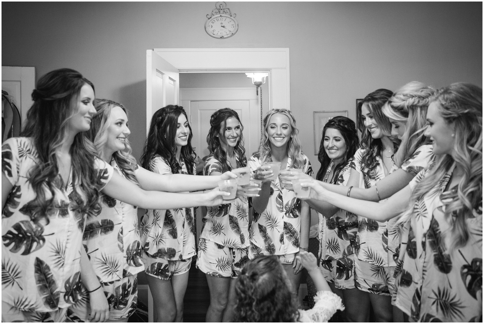 Bridesmaids making a toast