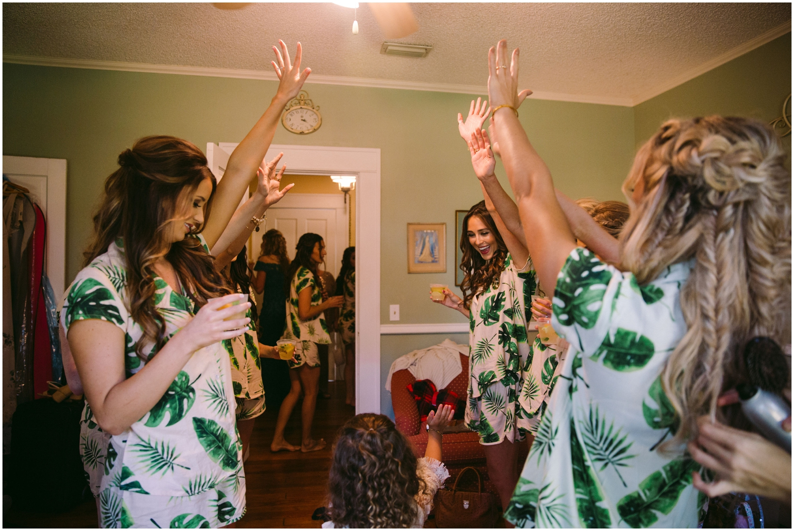 Bridesmaids and Bride making a toast