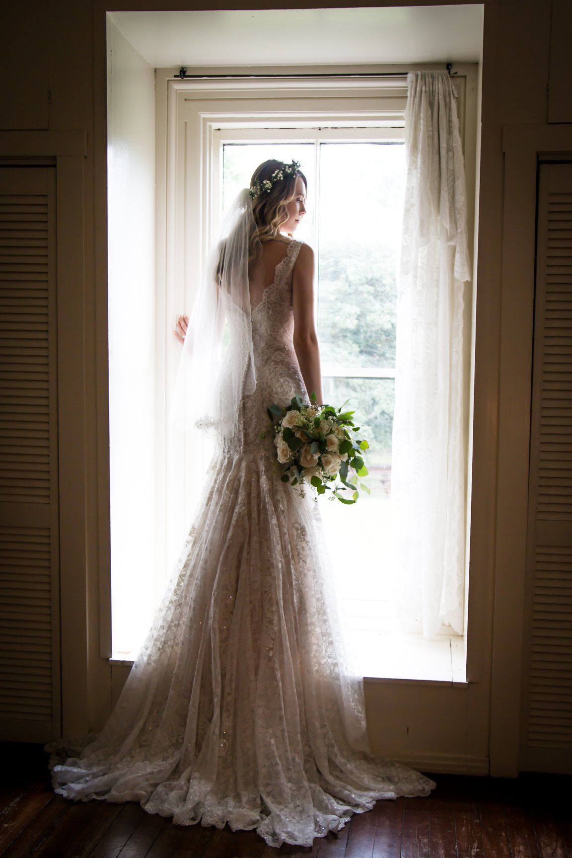 bride wearing her wedding dress