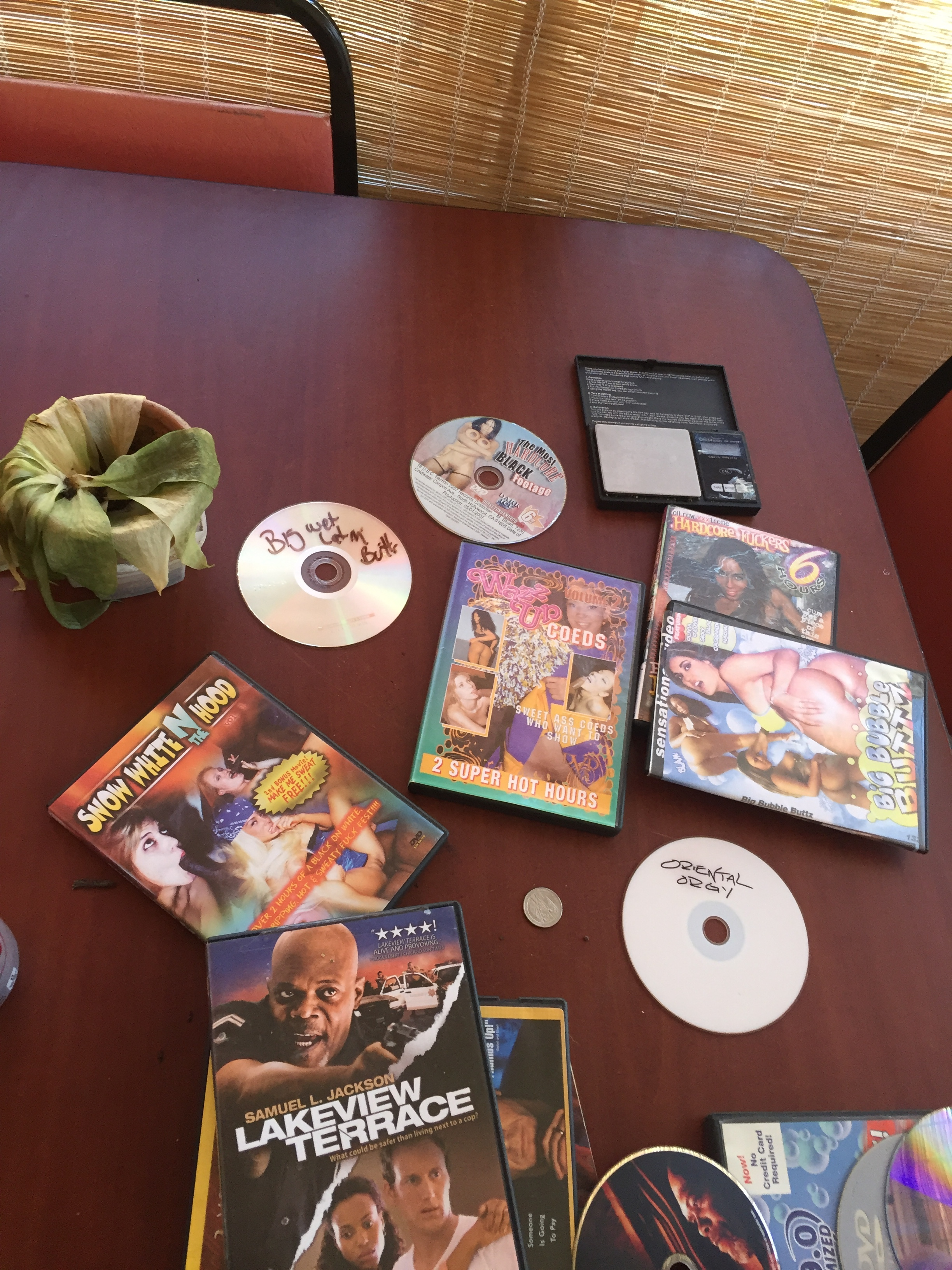Of course there'd be the porn DVDs and weed scale left over.