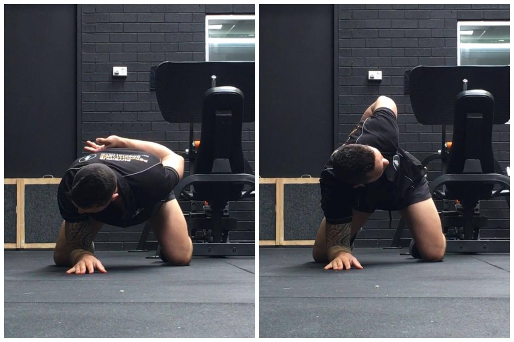 'Quadruped Thoracic Rotation' - shown above can help free up the T-Spine