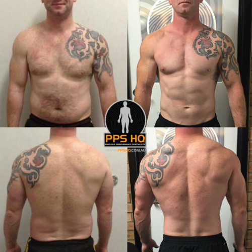 Patrick was able to maintain the same body-weight throughout this 12-month Transformation, while showing significant visual changes.