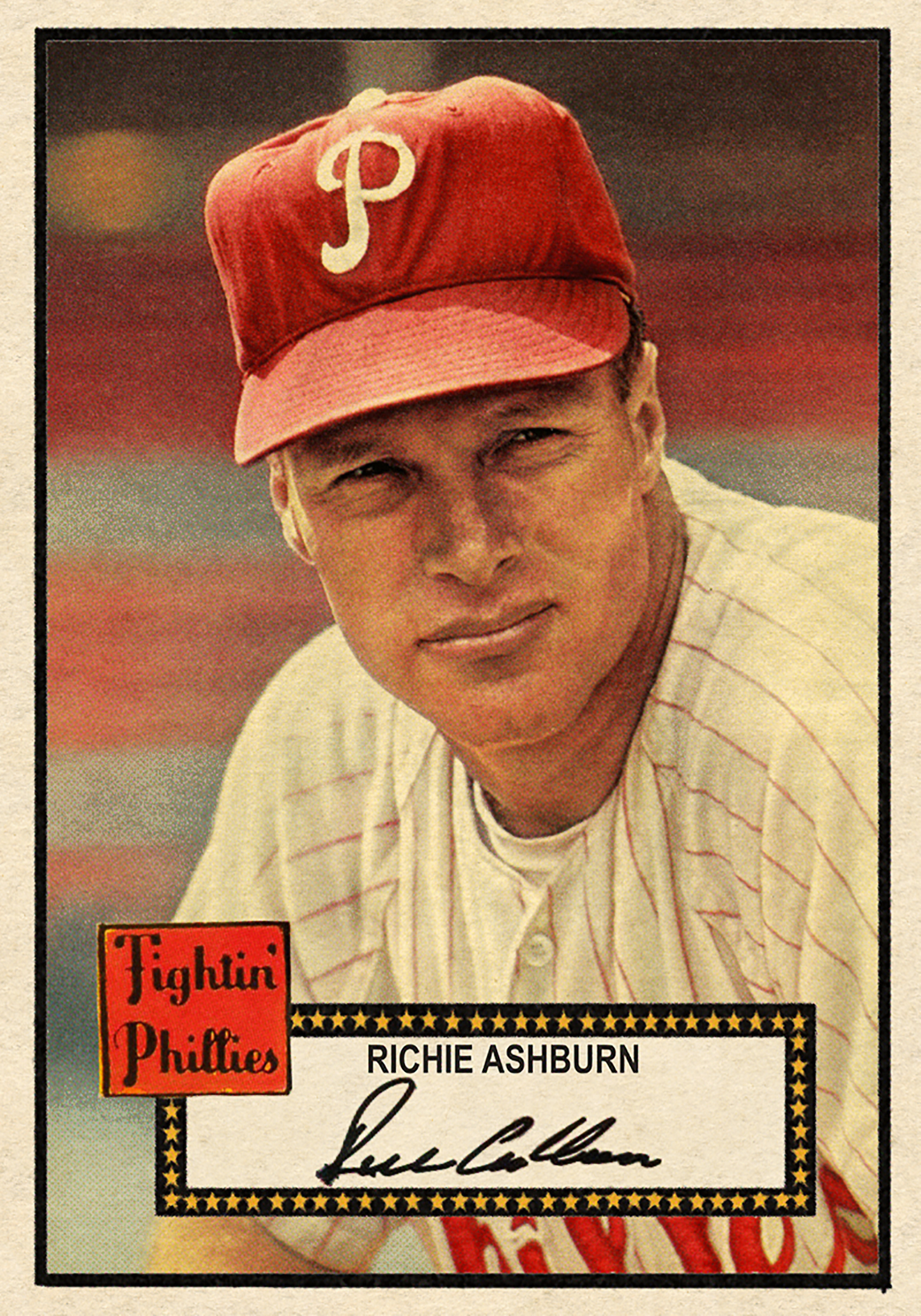 '52 Baseball #241RICH ASHBURN HI# - Stunning portrait of the Phillies centerfielder. Beautifully hand-colored.SOLD FOR 142.50 USD, December 2107