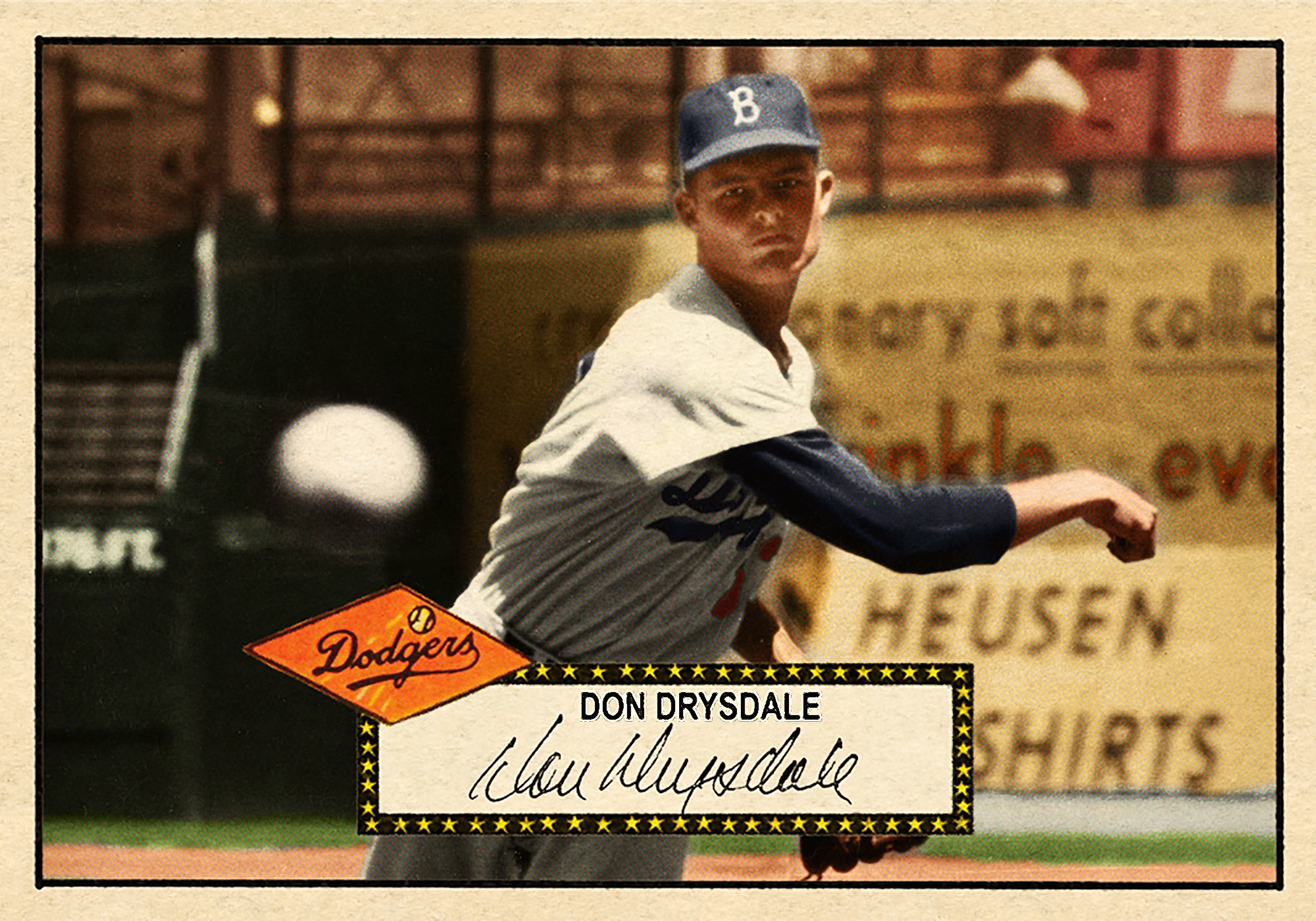 1952 Series #255DON DRYSDALE - This high-number won't list again for quite awhile. One of our favorite cards ever offered. An action shot of a baby Don's whip-like arm in old Ebbets Field. Gently hand colored and filtered, then lightly 'dodged' to highlight his features, this is a true wonder card.SOLD FOR 236.03 USD, December 2017