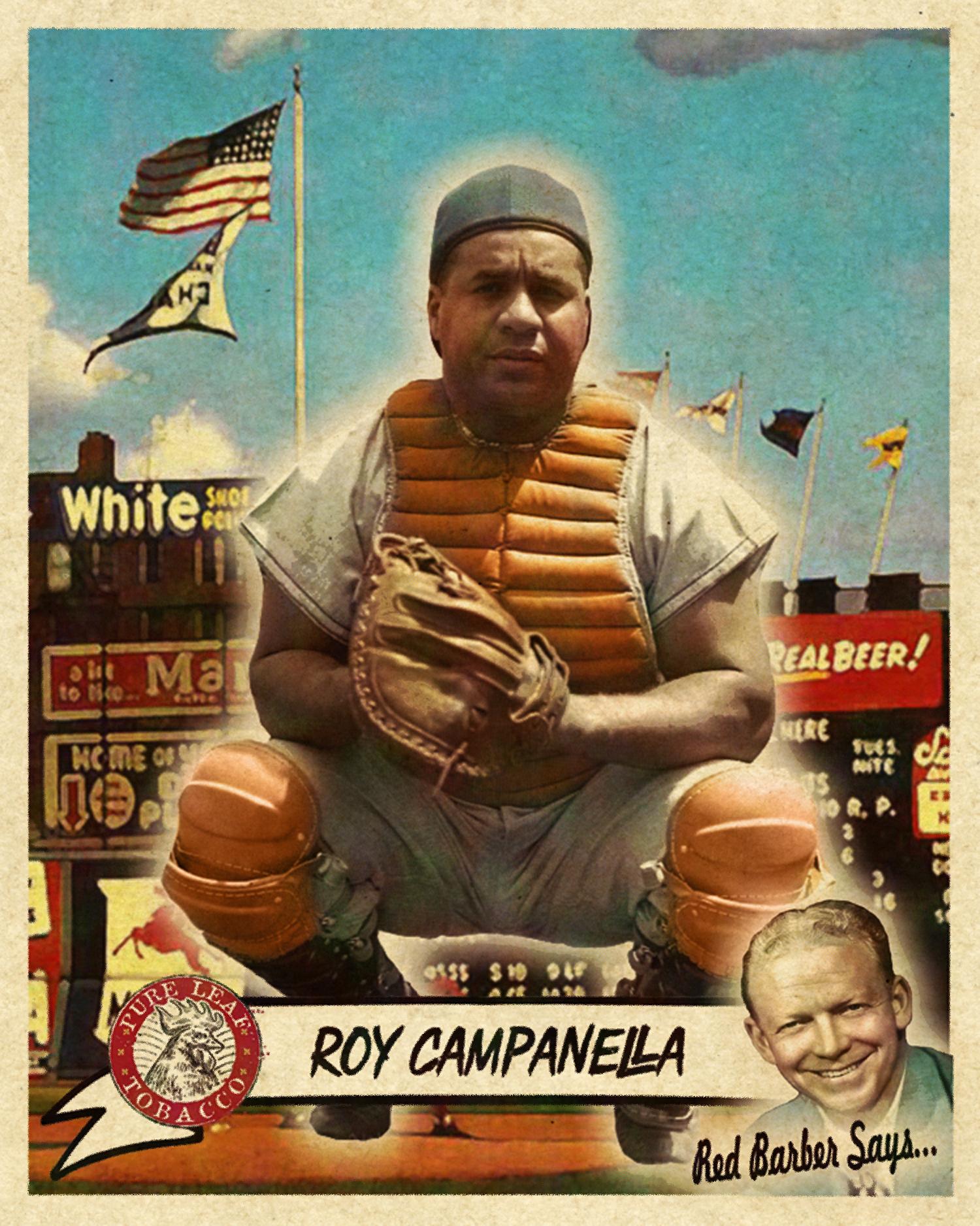 CAPITAL OF BASEBALL SERIES - One of Banty Red's first offerings, the Capital Of Baseball set contains 34 cards featuring the best of New York's 3 boroughs between 1950-1956. This beautiful Roy Campanella card, complete with Ebbetts Field's view of Bedford Avenue in Brooklyn is one of the sets' most popular singles.SOLD FOR 368.50 USD, Summer 2016