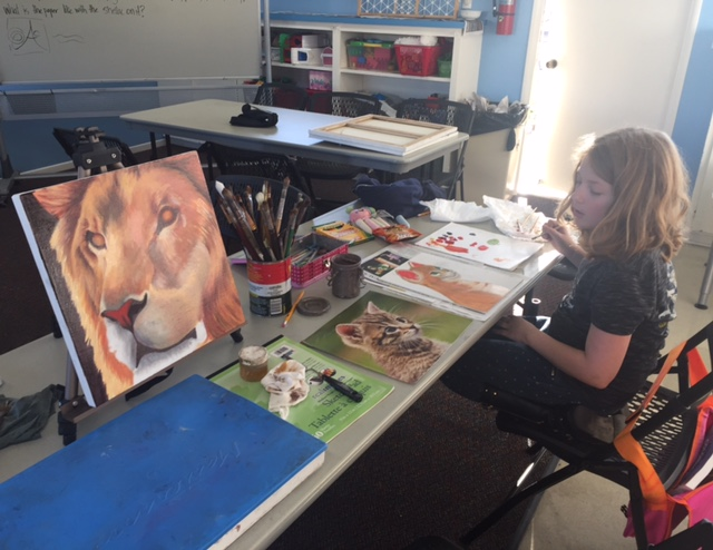 Animal Painting class demo at Terra Arts