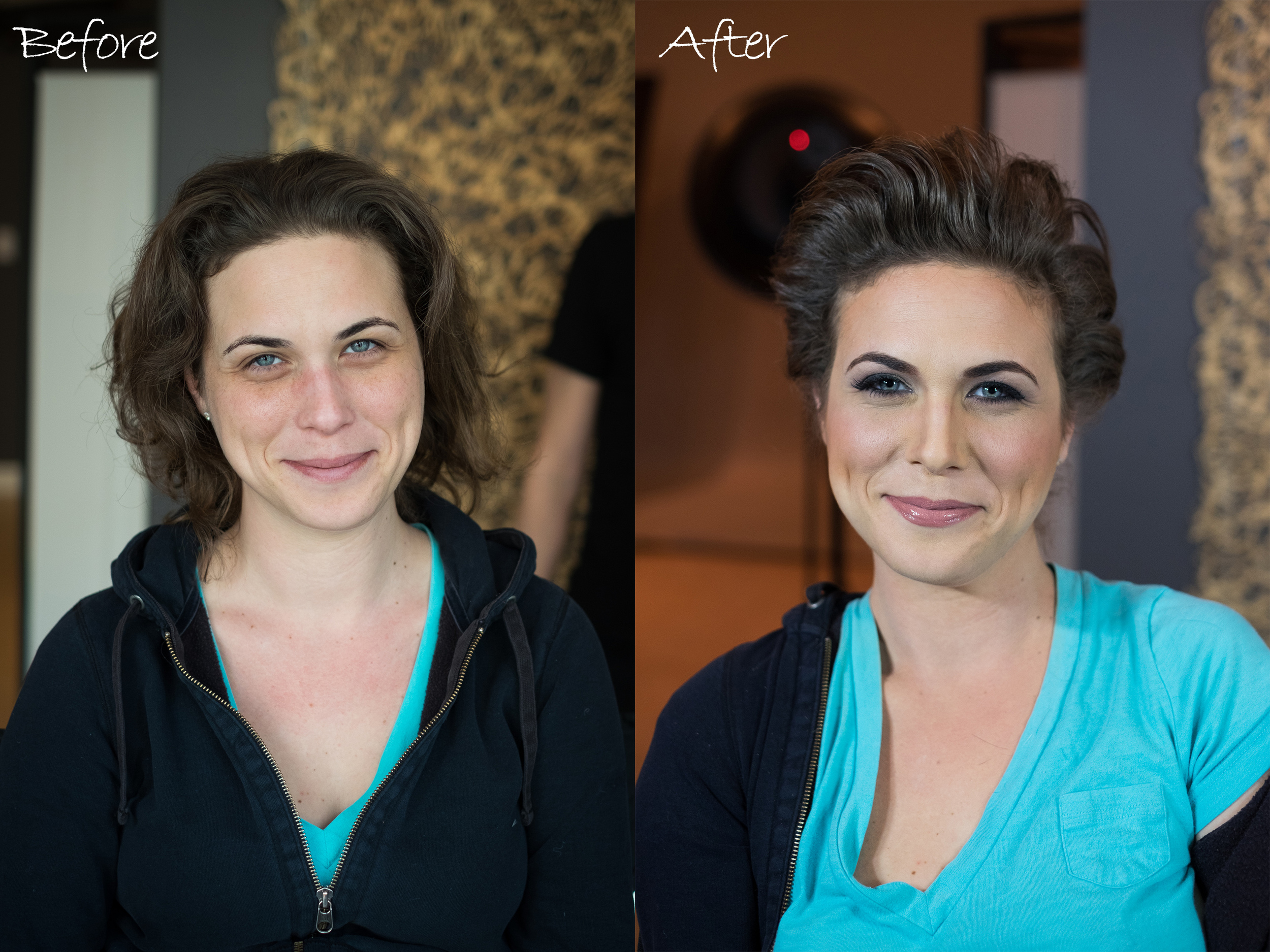 Looking gorgeous before, and after! But it never hurts to highlight our best features.  Hair & Makeup by Enrique Enriquez