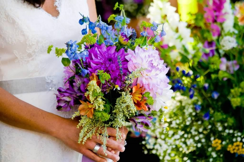 September bridal bouquet. Dahlia, larkspur, sage, alstroemeria, aster.