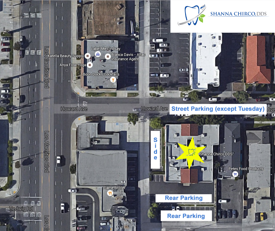 Parking is available as noted on this image (street, side & rear)