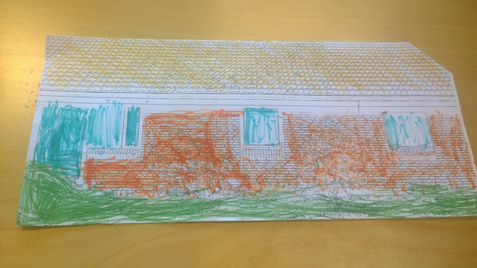"""Drengens udtryk i farveskitse """"Parcelhus"""". Play-talk konceptet indeholder 3 forskellige hustyper."""