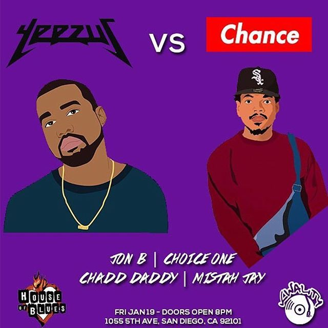 Back at House Of Blues SD  Friday 1/19  Playing cuts from  Kanye + Chance + related artists  Purchase tix now @hobsandiego #chadddaddy  #hobsd #hobsandiego #kwality #kanye #yeezus #chancetherapper #kanyewest