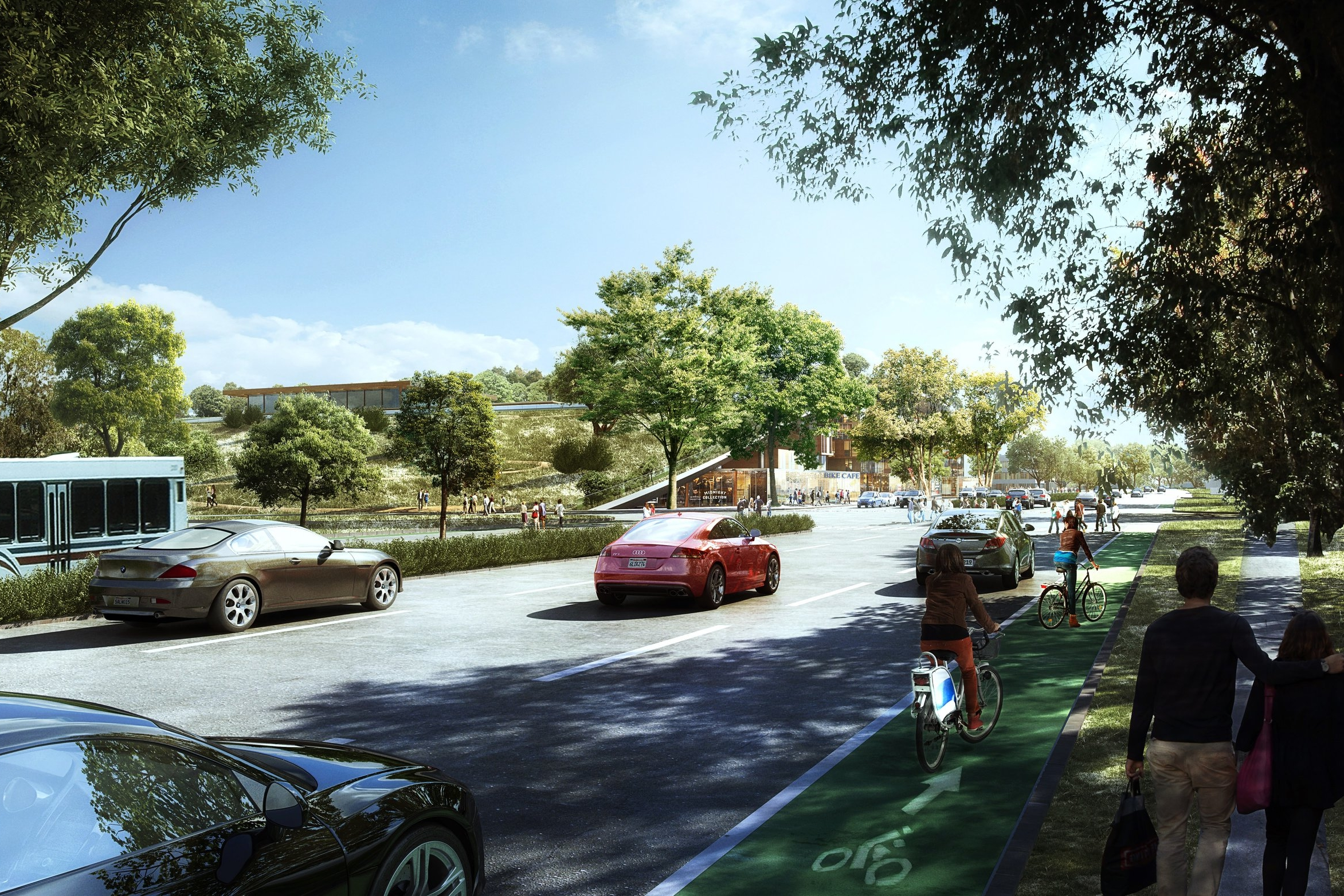 Green Roof Transition Street View  | The Hills at Vallco