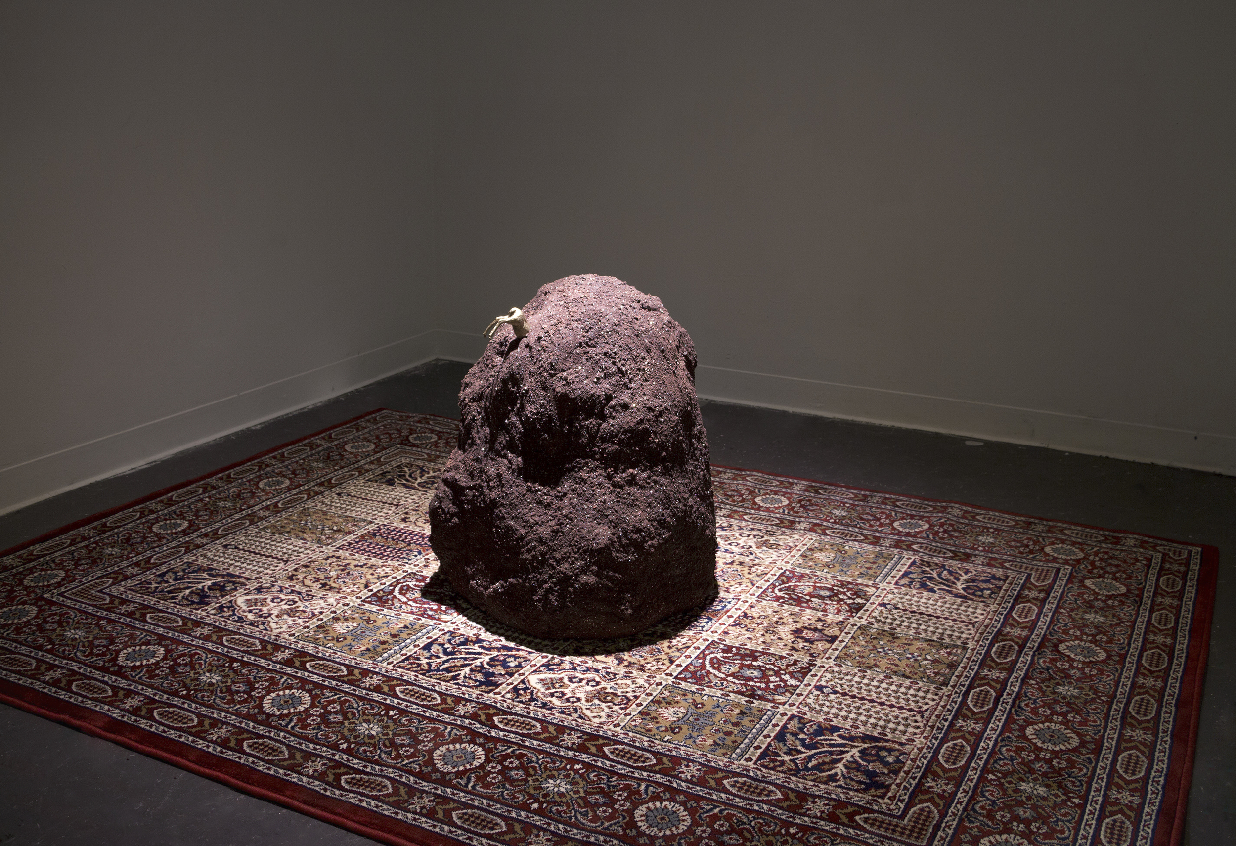 "Incrustation of a Deer:  35x67x91""  lava rocks, glitter, rug, plastic deer"