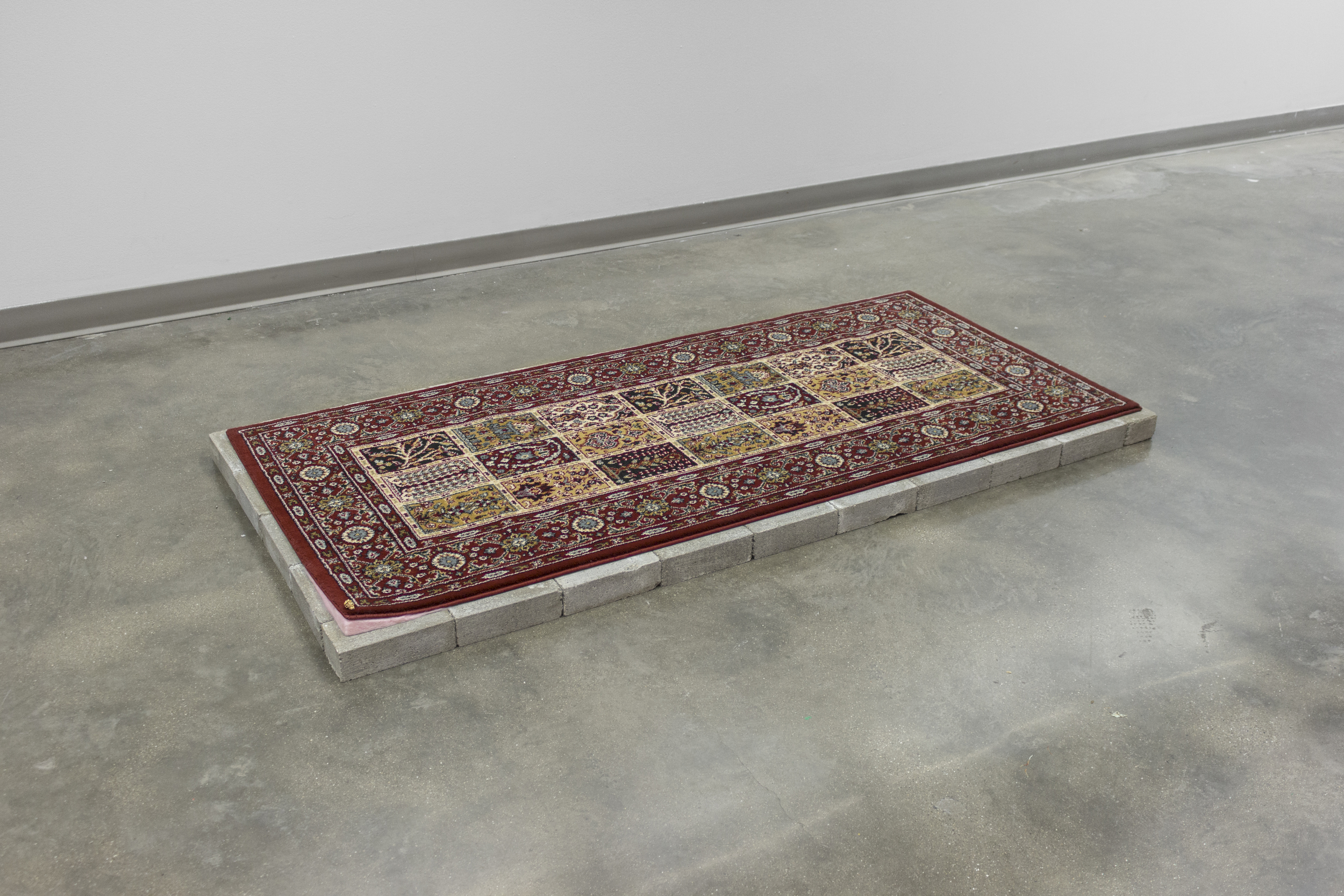 "Untitled:  34x73""  rug, bricks, felt, ceramic, gold luster"