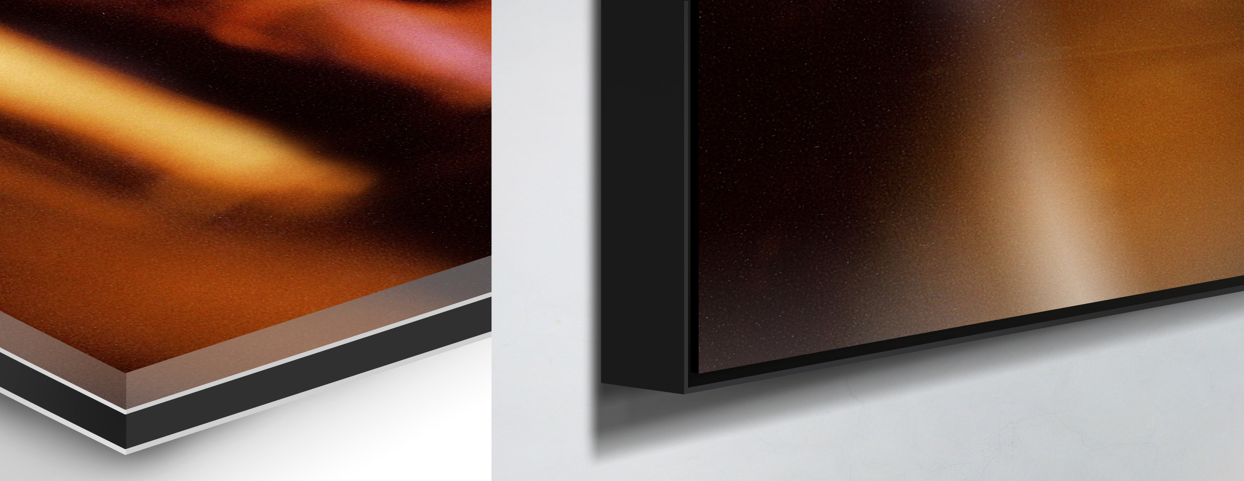 Detail: left - close up of print encased in aluminium and acrylic glass / right - close up of frame