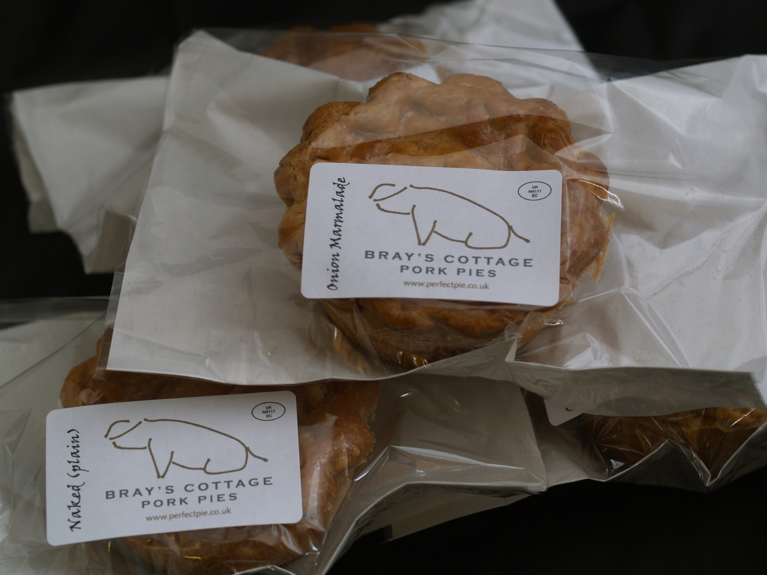 Naked, Onion Marmalade, Chorizo, Chilli, Piccalilli, pork pies from Brays Cottage. Handmade in Norfolk