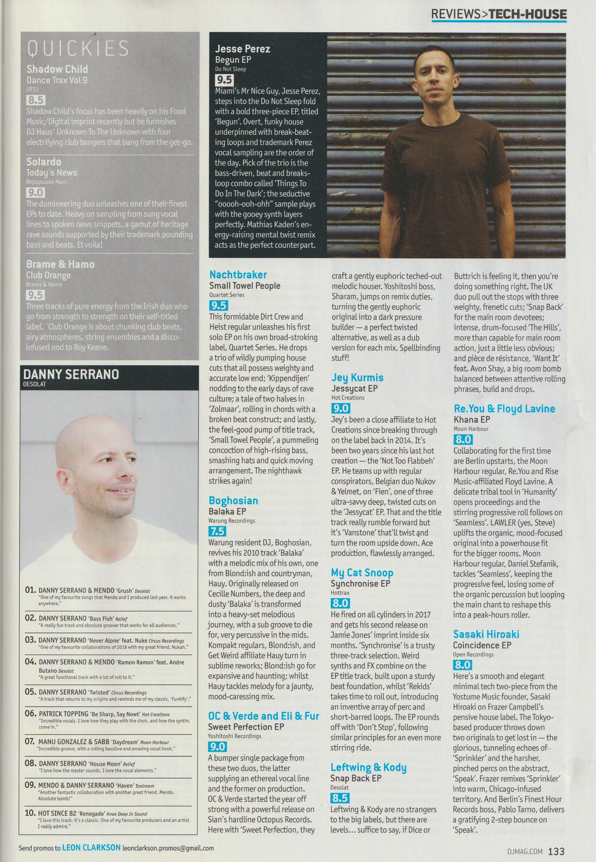 print magazine ep reviews - danny serrano top 10 chart and yoshitoshi 9/10 review on dj mag's uk tech house page