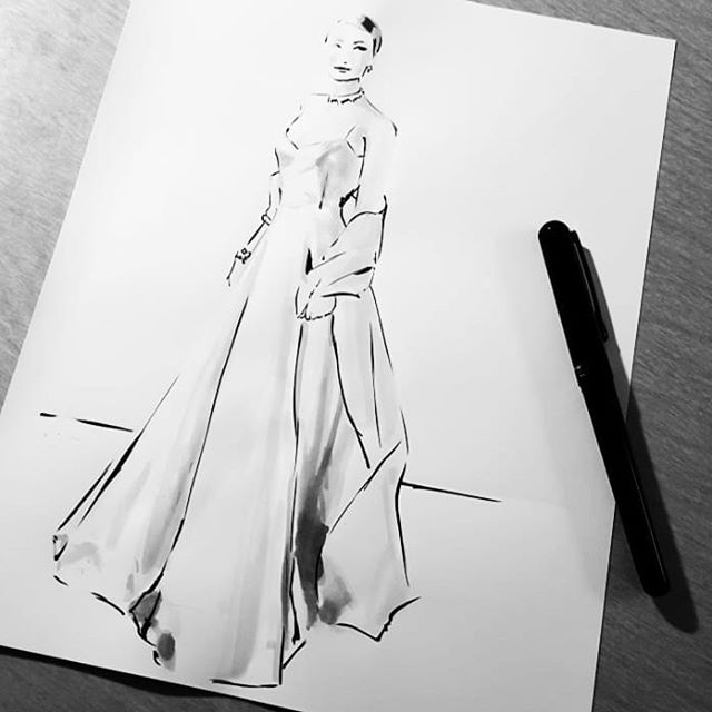 Here is one of the iconic dresses from the #oscars red carpet. Gorgeous #gracekelly gown worn by #gwynethpaltrow and designed by #ralphlauren . This is also my surprise inktober piece! Hope everyone has a great week! #inktober14 #inktober2018 #inktober #catchingup #ink #progressnotperfection #oscars #timeless #fashionillustration #fashion