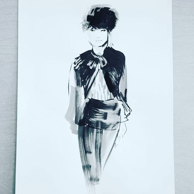 Wanted to sneak in some #giorgioarmani for today as well! Hope everyone is having a good Monday! #inktober16 #inktober2018 #inktober #ink #artistsoninstagram #fashionillustration #fashion #runway #velvet #progressnotperfection #catchingup