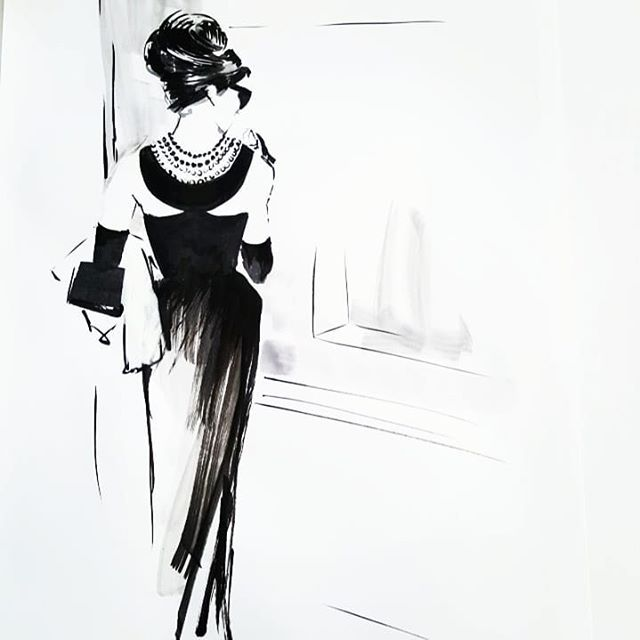 Breakfast at Tiffany's! Had to do the classic #givenchy gown worn by miss #audreyhepburn  #inktober2018 #inktober17 #inktober #ink #artistsoninstagram #progressnotperfection #catchingup #classicfilms #vintagefashion #costumedesign