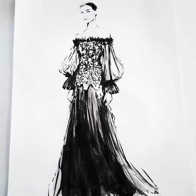 And here is the wonderful #alexandermcqueen for #inktober18 😄😍 This is a design from his fall 2012 collection. Hope you all are having a great Tuesday! #inktober2018 #ink #artistsoninstagram #progressnotperfection #30min #fashionillustration #fashion #couture #gowns