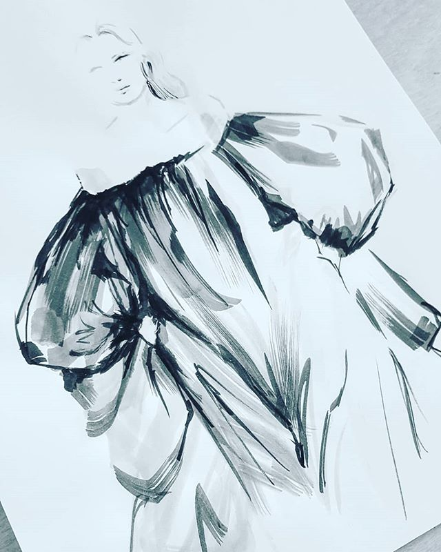A voluminous design by the wonderful @maisonvalentino for #inktober26 #inktober2018 #ink #fashionillustration #fashion #progressnotperfection #catchingup #artistsoninstagram