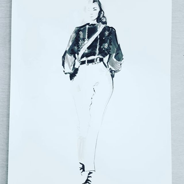 Here is a beautiful design by @albertaferretti for #inktober25 #inktober2018 #ink #fashionillustration #fashion #progressnotperfection #catchingup