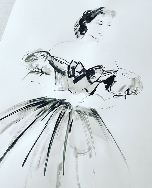 Here is my last surprise piece for #inktober and it's a design from #irenesharaff that's worn by the beautiful #deborahkerr in #kingandi #inktober30 #inktober2018 #caughtup #ink #fashionillustration #fashion #progressnotperfection #artistsoninstagram