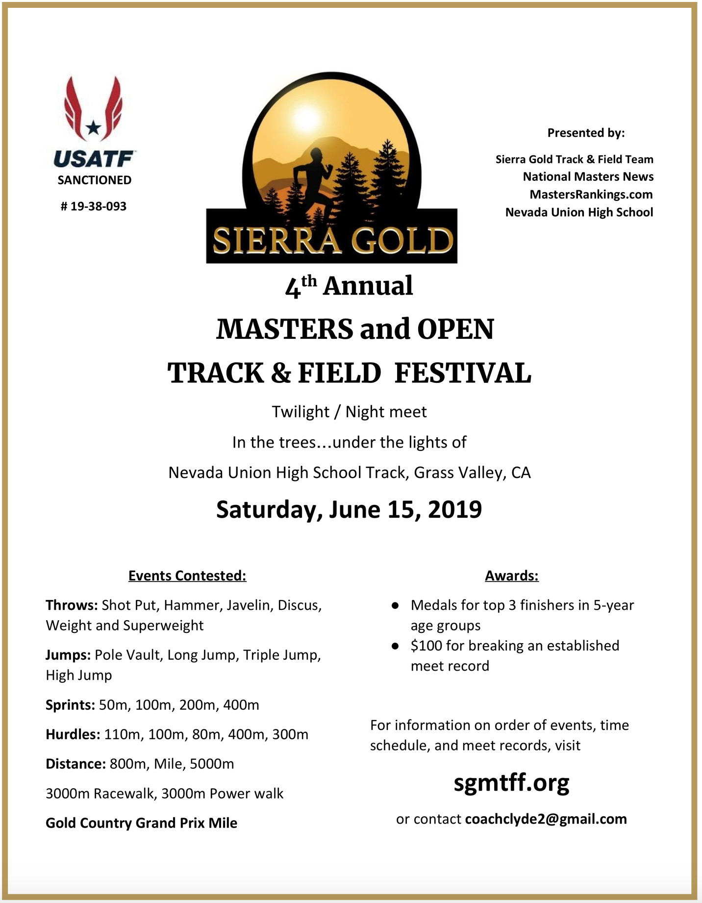 SIERRA GOLD MASTERS AND OPEN TRACK AND FIELD FESTIVAL