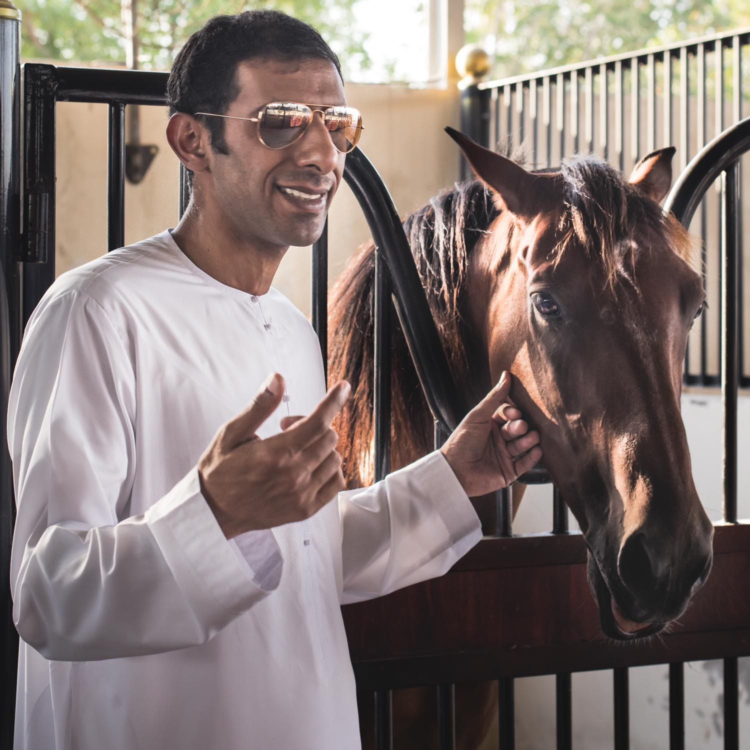 "Majid Al Khamri    Owner/Trainer/Rider Endurance Horses   ""This time of the year is for reconnecting with family and friends. Sitting on the majlis (tented meeting place), talking, praying Al Taraweeh and enjoying this special moment.""   From United Arab Emirates Born and raised in Dubai"