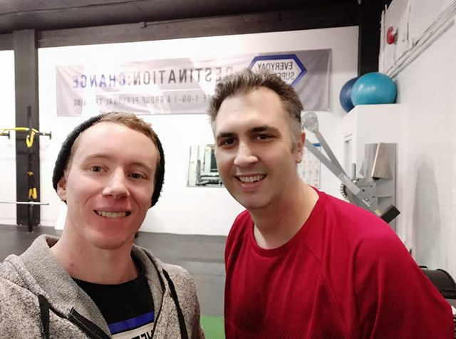 "Big Tuesday morning shoutout to this guy @mikepyne77!  Mike has been training with me since the beginning of December and he's been making some awesome progress!  Despite Christmas being in the middle of his two months working with me he is now down 10lbs and 4"" on his waist!  More importantly, his energy is hugely increased (6/10 --  9/10), he's making big changes to posture both day-to-day and structurally and his form is looking pristine lately!  On top of all this he's also at an 8/10 for sustainability which is one of the most important metrics I look at because it tells us how likely it is that you'll actually be able to keep up your habits. (Because who wants to make amazing progress and then lose it afterwards?) Mike comes in every workout and works hard and doesn't complain or make excuses. If you want amazing results, be like Mike!  Congrats on the amazing progress so far Mike!"
