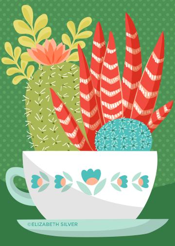 Cactus Teacups ©Elizabeth Silver