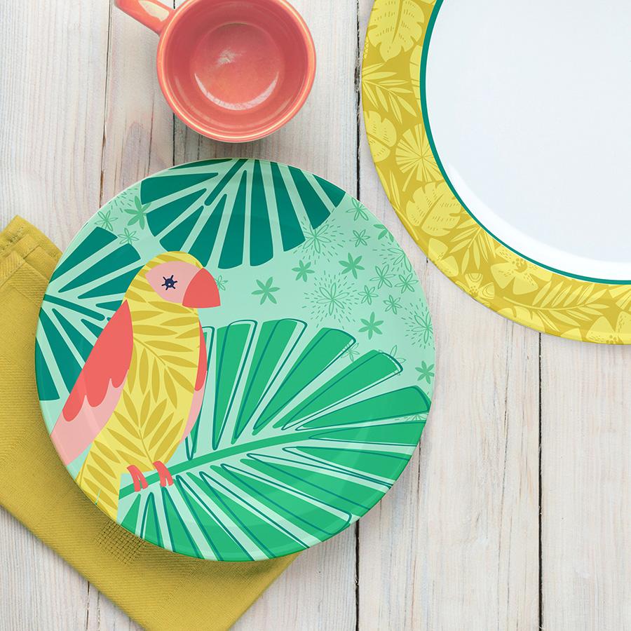 ©elizabeth silver avian paradise plates