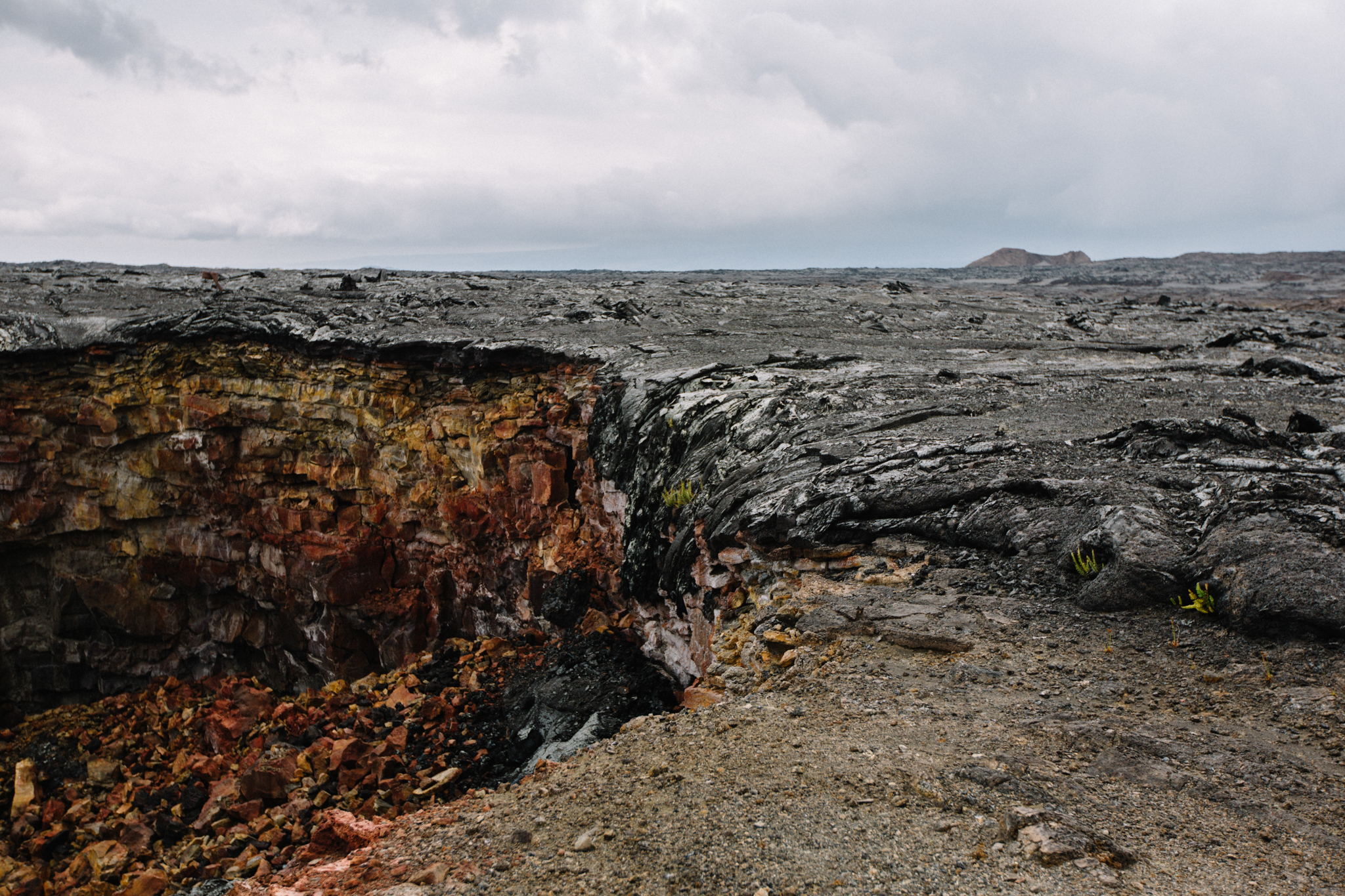 You can see where a lava flow once poured into the chasm.